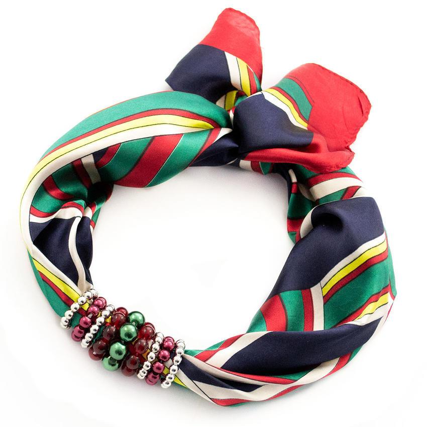 Šátek s bižuterií Letuška - modrozelený