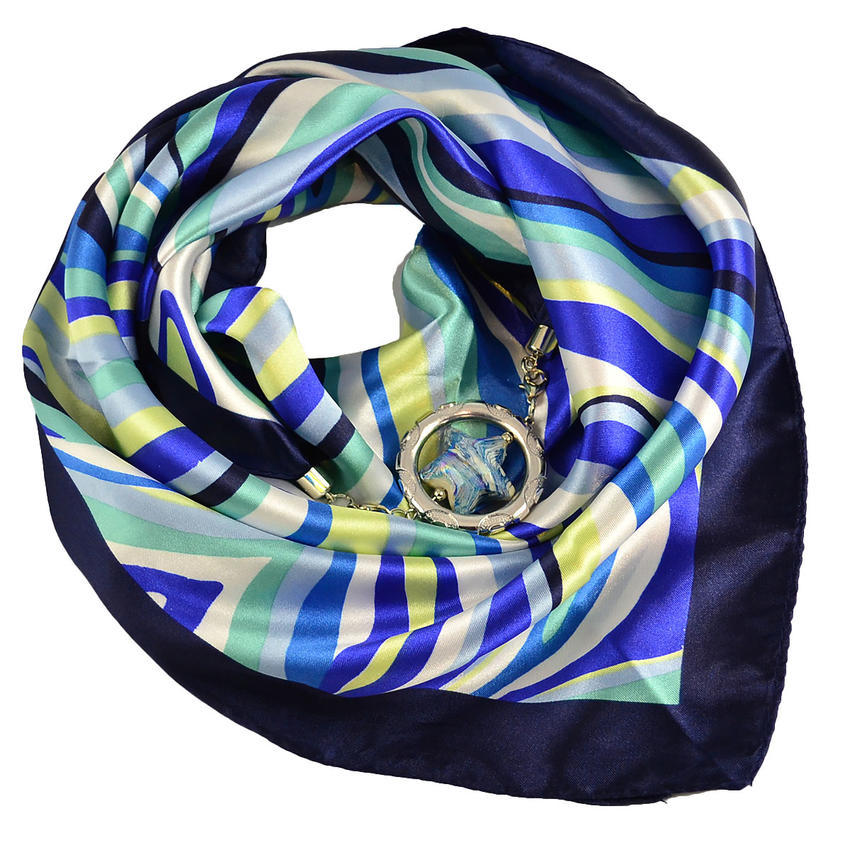 Šátek s bižuterií Stella - modrobílý