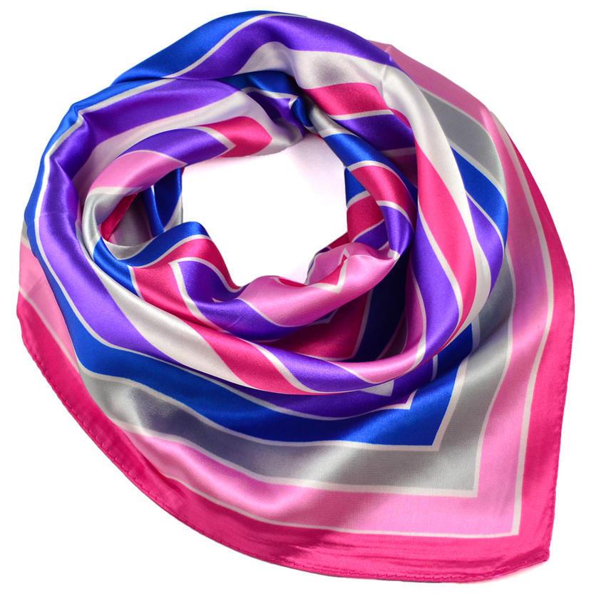 Šátek saténový - růžovomodrý pruhovaný