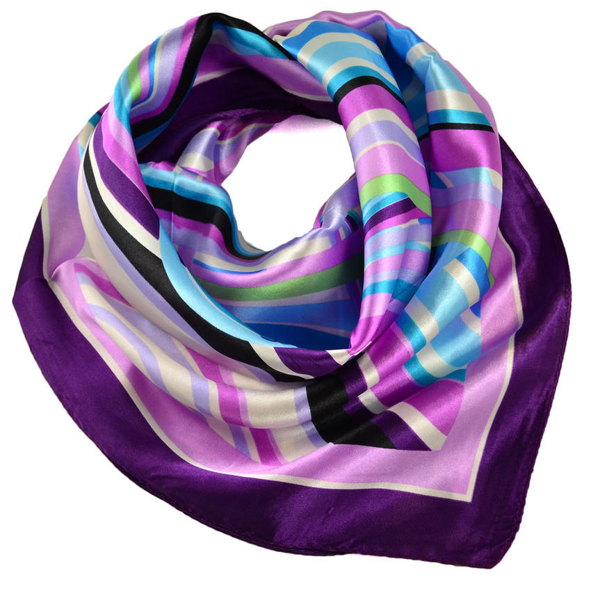 Šátek saténový - fialovomodrý pruhovaný