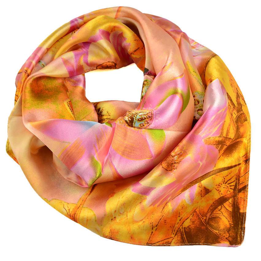 Šátek saténový - oranžový s květy