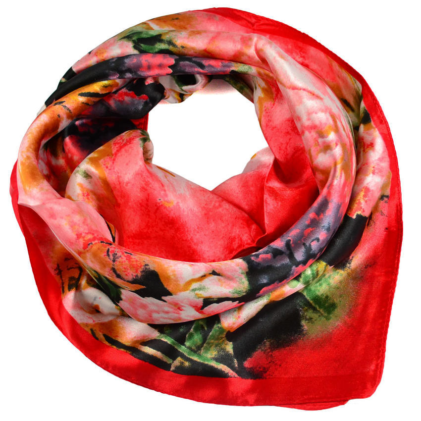 Šátek saténový - červený s květy