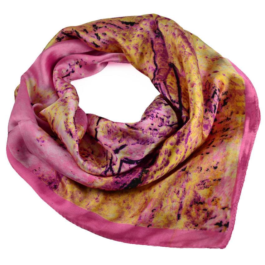 Šátek saténový 63sk004-23.33 - růžový se stromem