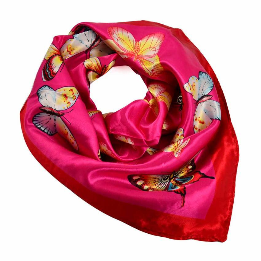 Šátek saténový 63sk005-25.02 - růžový s motýlky