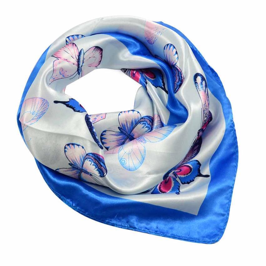 Šátek saténový 63sk005-31.01 - modrý s motýlky