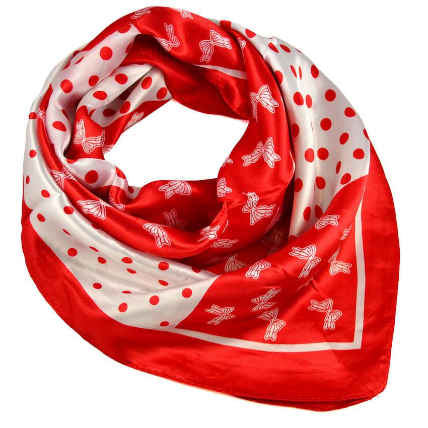 Šátek saténový - červenobílý s potiskem