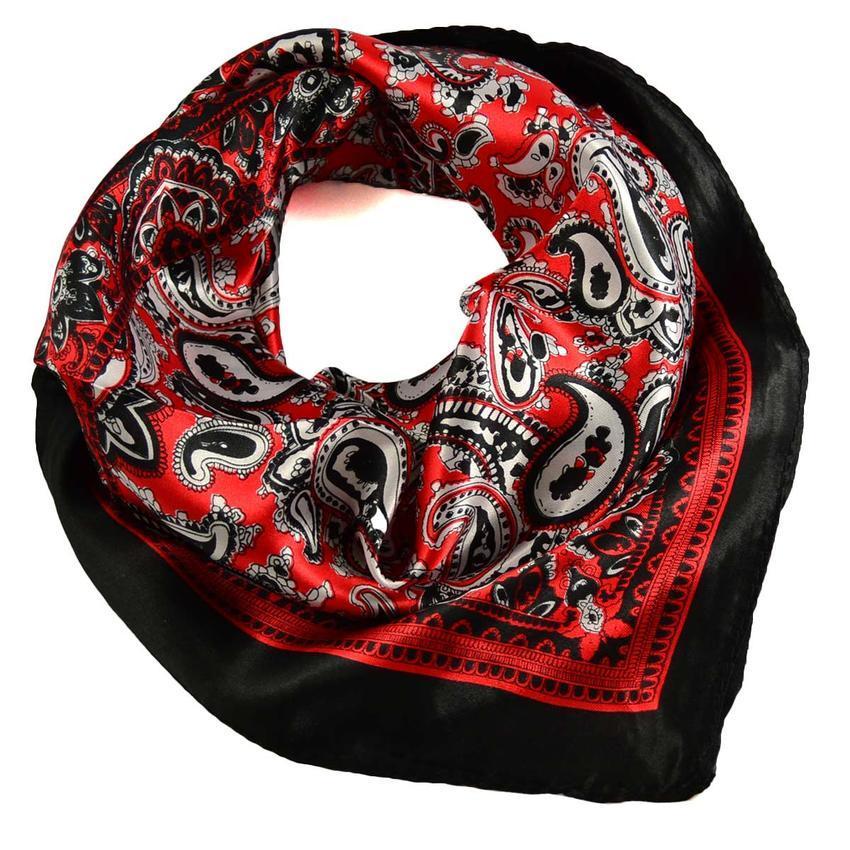 Šátek saténový 63sk010-20.70 - červenočerný paisley