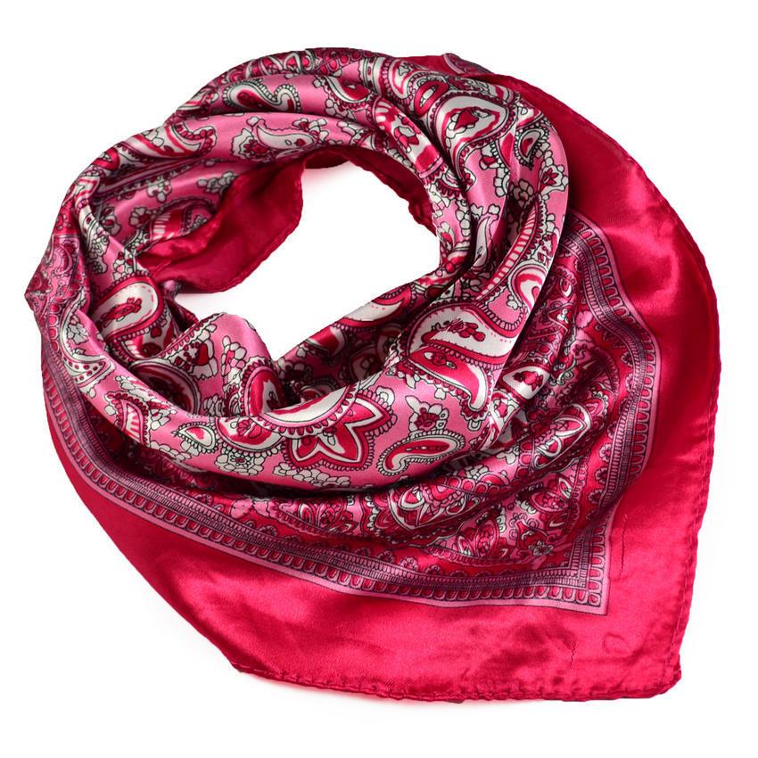 Šátek saténový 63sk010-25 - růžový paisley