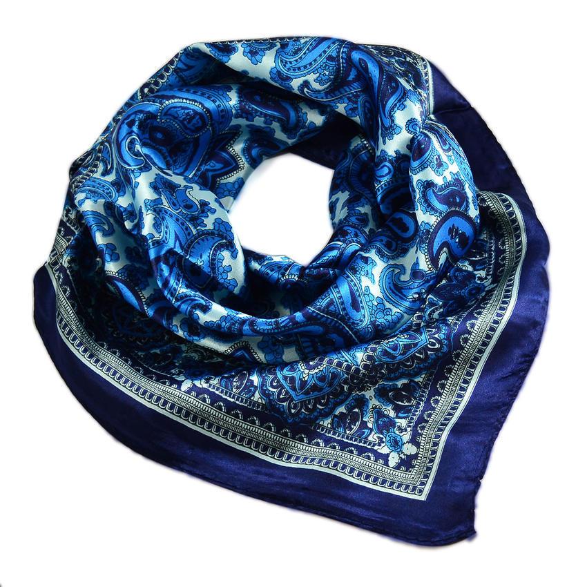 Šátek saténový 63sk010-30 - modrý paisley
