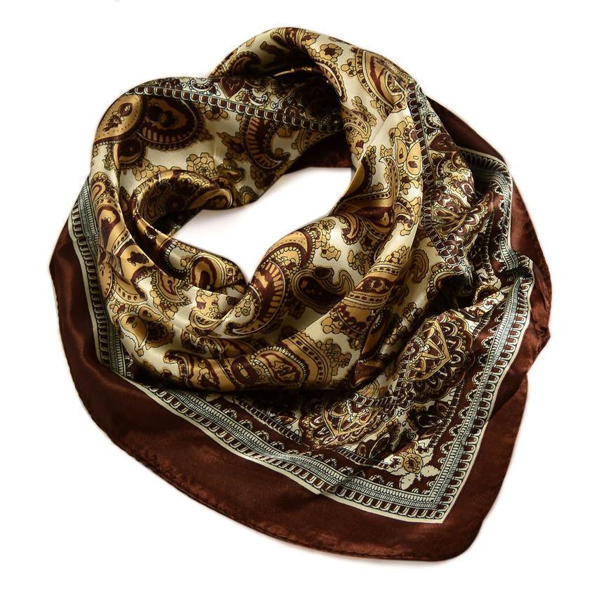 Šátek saténový 63sk010-40a - hnědý paisley