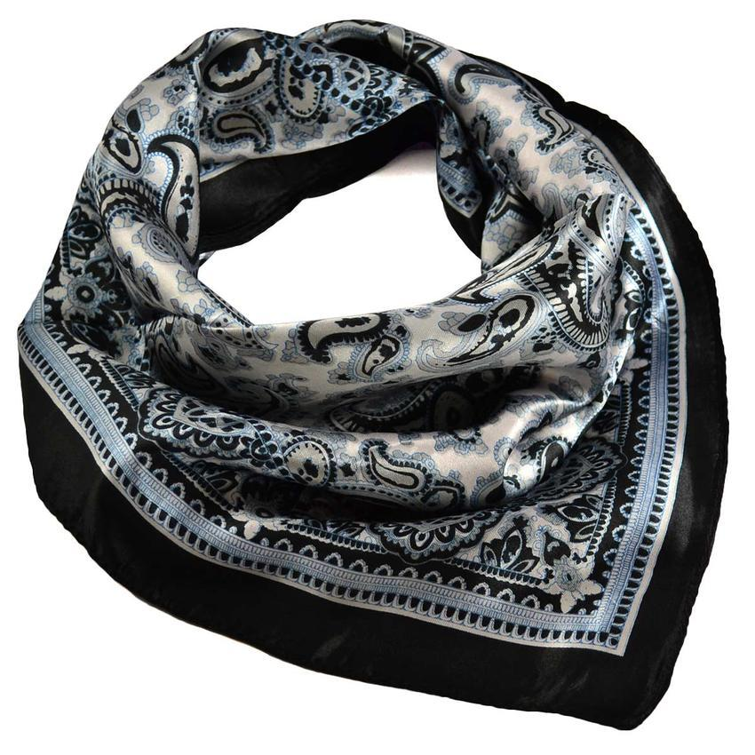 Šátek saténový 63sk010-70.01 - černobílý paisley