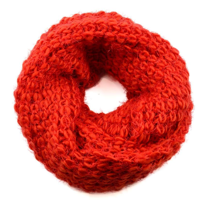 Tunelová pletená šála 69tz001-11a - oranžová