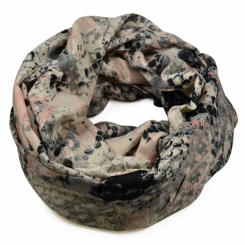 Tunelová šála 69tu007-23.71 - růžovošedá hadí kůže