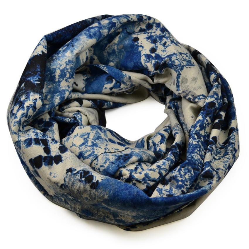 Tunelová šála 69tu007-30.71 - modrobéžová hadí kůže