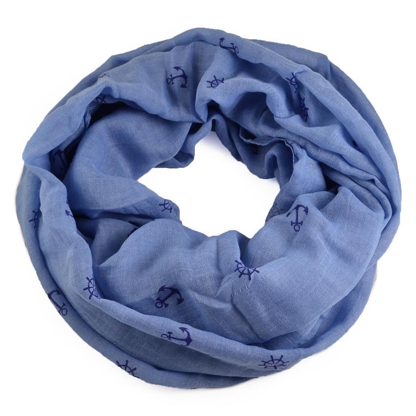 Tunelová šála 69tu014-31.30 - modrá s kotvami - Bijoux Me! f7d048367e