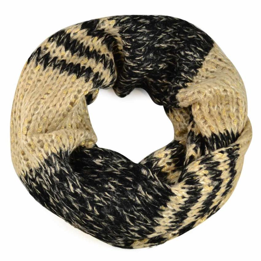Tunelová pletená šála - béžovočerná - Bijoux Me! e7dd2de594