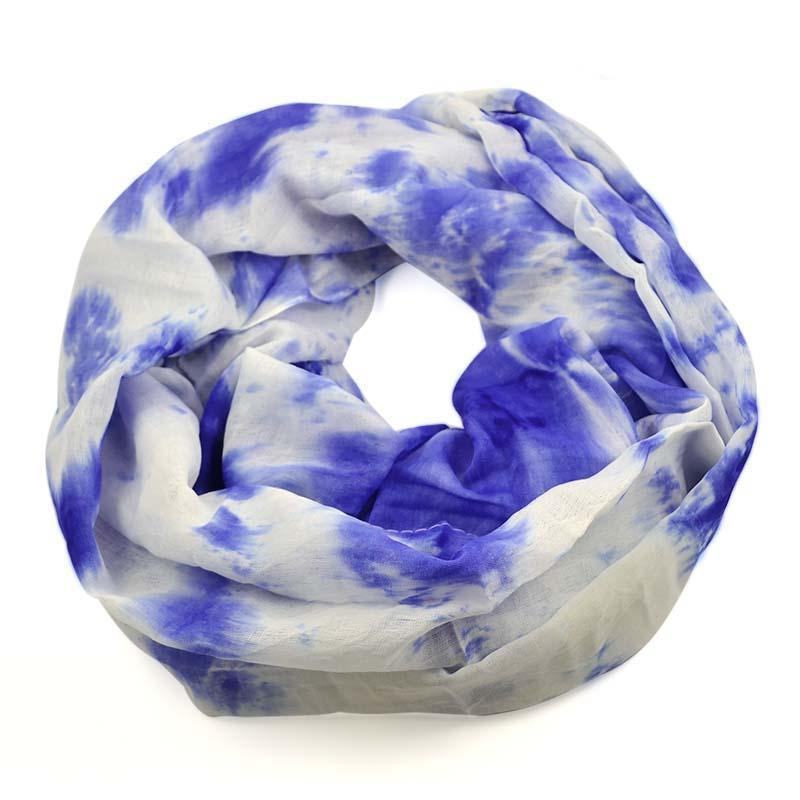 Tunelová šála 69tu002-30.01a - modrobílá batikovaná