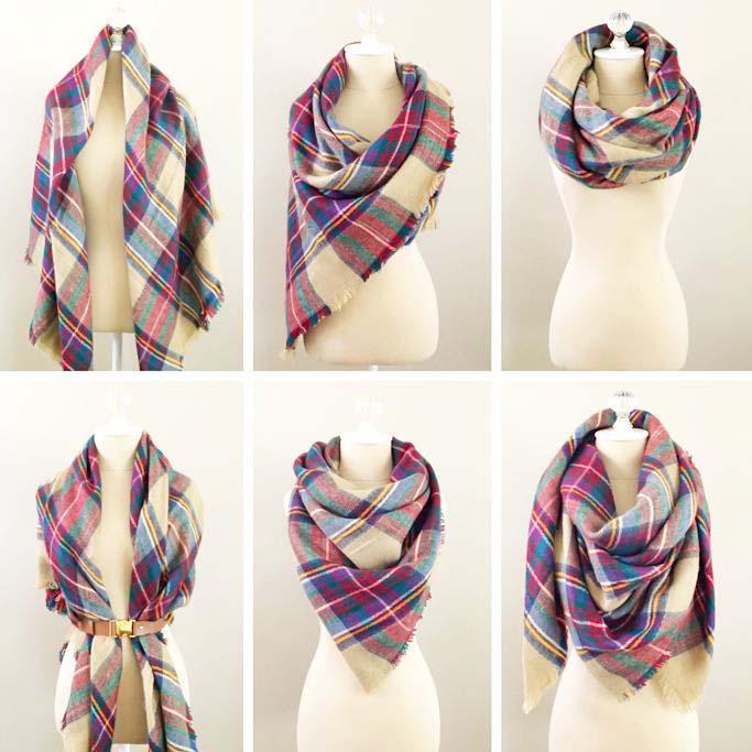 Teplý maxi šátek - šedobílý kostkovaný 3cf36f8641